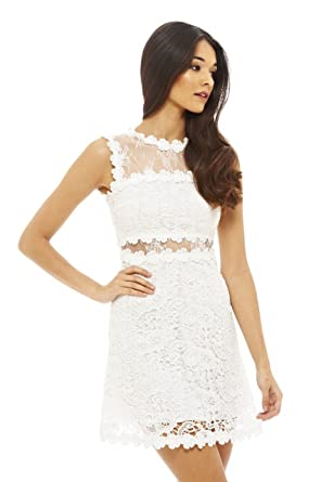 a81d267a25 Amazon.com  AX Paris Women s Lace Crochet Skater Dress  Clothing