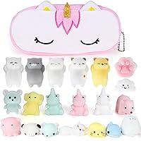 VAMEI 20 PCs Mochi Squishy Kawaii Toys and Free Unicorn Bag Mini Cute Variety Animals Set Fun Birthday Present Idea for Girls Boys Party Favor