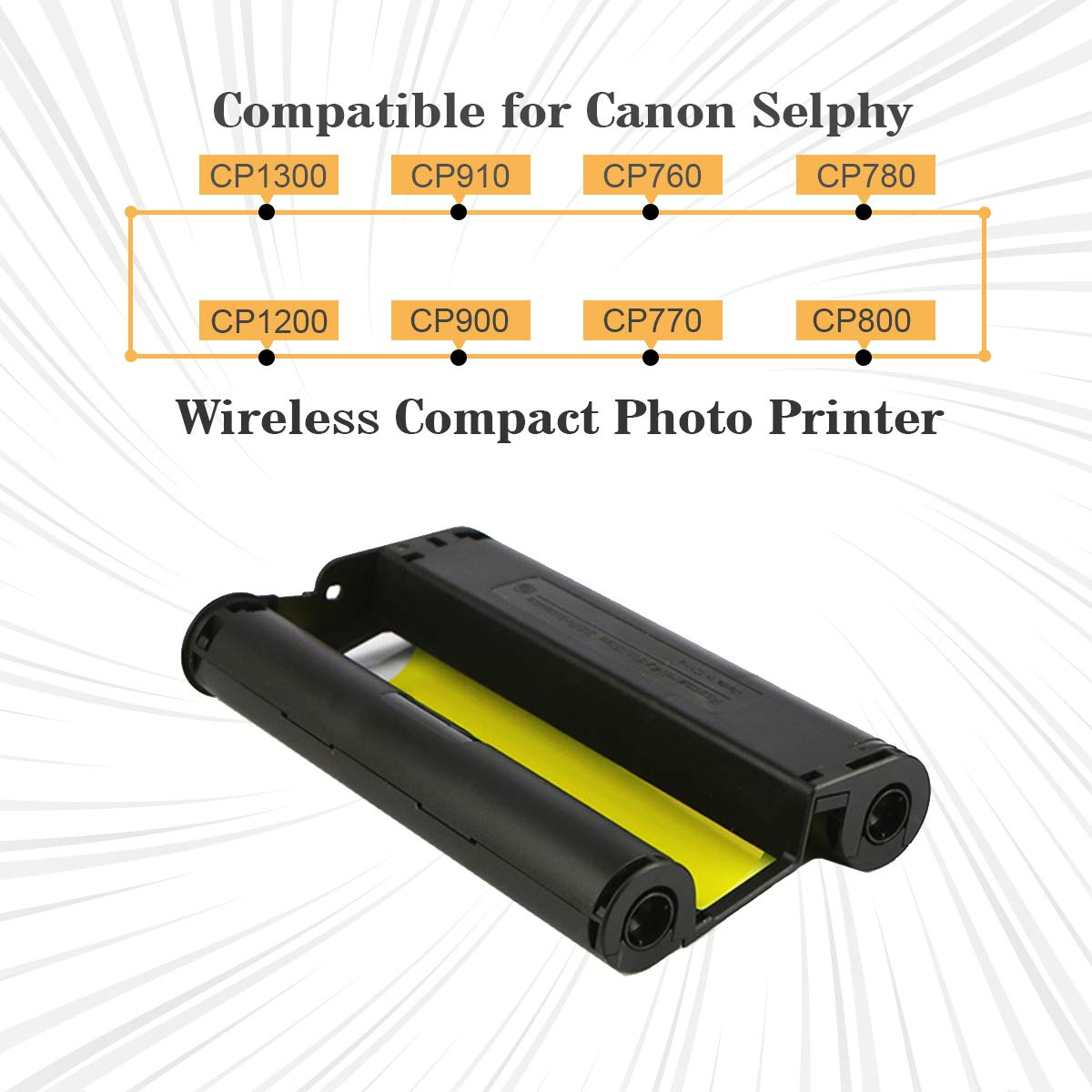 Unismar KP-108IN KP108 Color Ink Cartridges Ribbon Cassette Compatible for Canon Selphy CP1200 CP1300 CP910 CP900 Wireless Compact Photo Printer 36 Prints for P Tray 2 Pack Without Paper