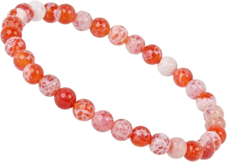 ELEDORO PowerBead - Pulsera con perlas de piedras preciosas de 6 mm para hombre y mujer