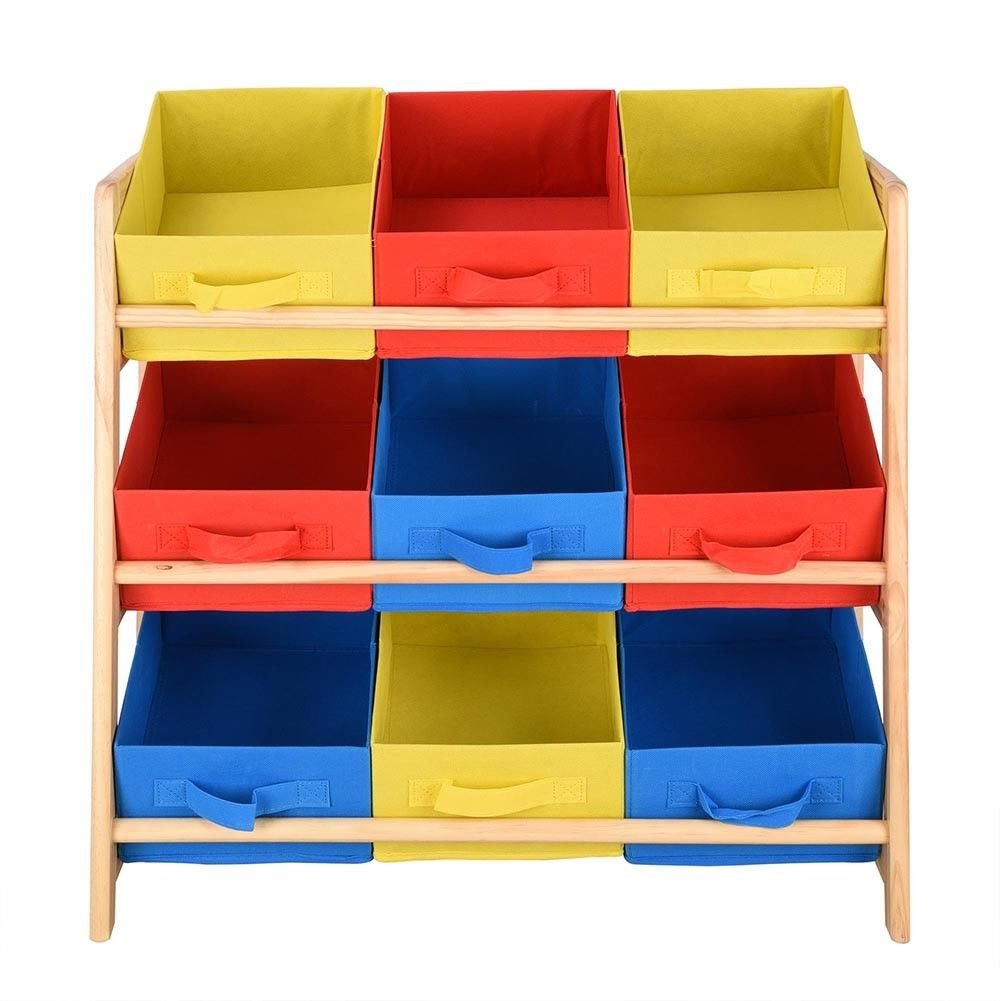 Kids Toy Storage Organizer Box Wood Frame Shelf Rack Playroom Bedroom Bookshelf