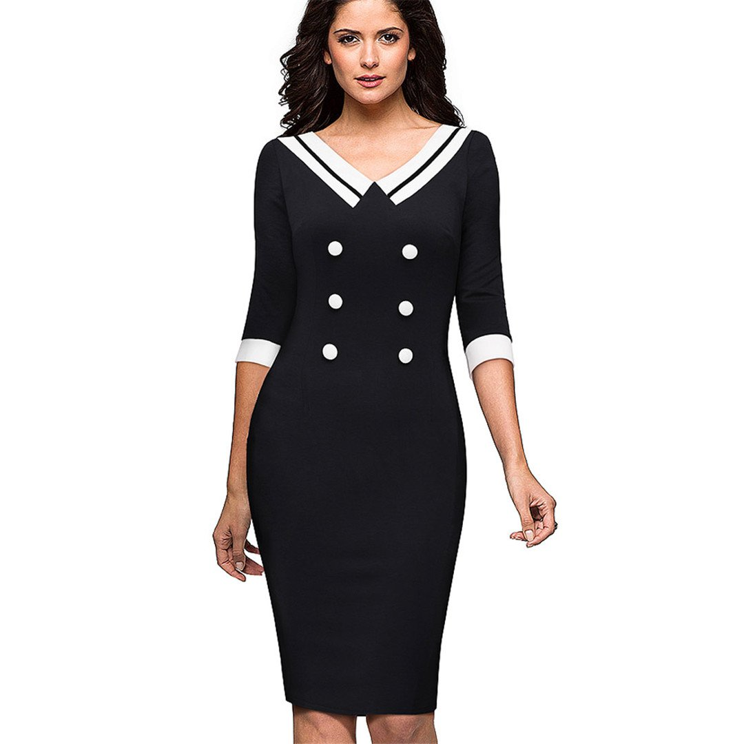 Bodycn Vintage Contrast Color Stitching V-Neck Wear Work Button Vestidos Office Business Dress at Amazon Womens Clothing store:
