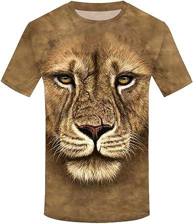 beautyjourney Camiseta con Estampado de león, Camiseta de Manga Corta para Hombre Sudadera con Cuello Redondo Camisa Casual de Verano Camisas de Fitness Blusa: Amazon.es: Ropa y accesorios