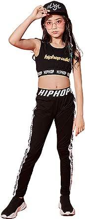 LOLANTA Ropa de Baile para niñas Hip Hop Ropa de Baile de Gimnasia Chaleco Recortado y Polainas Negras, Conjunto de chándal de 2 Piezas