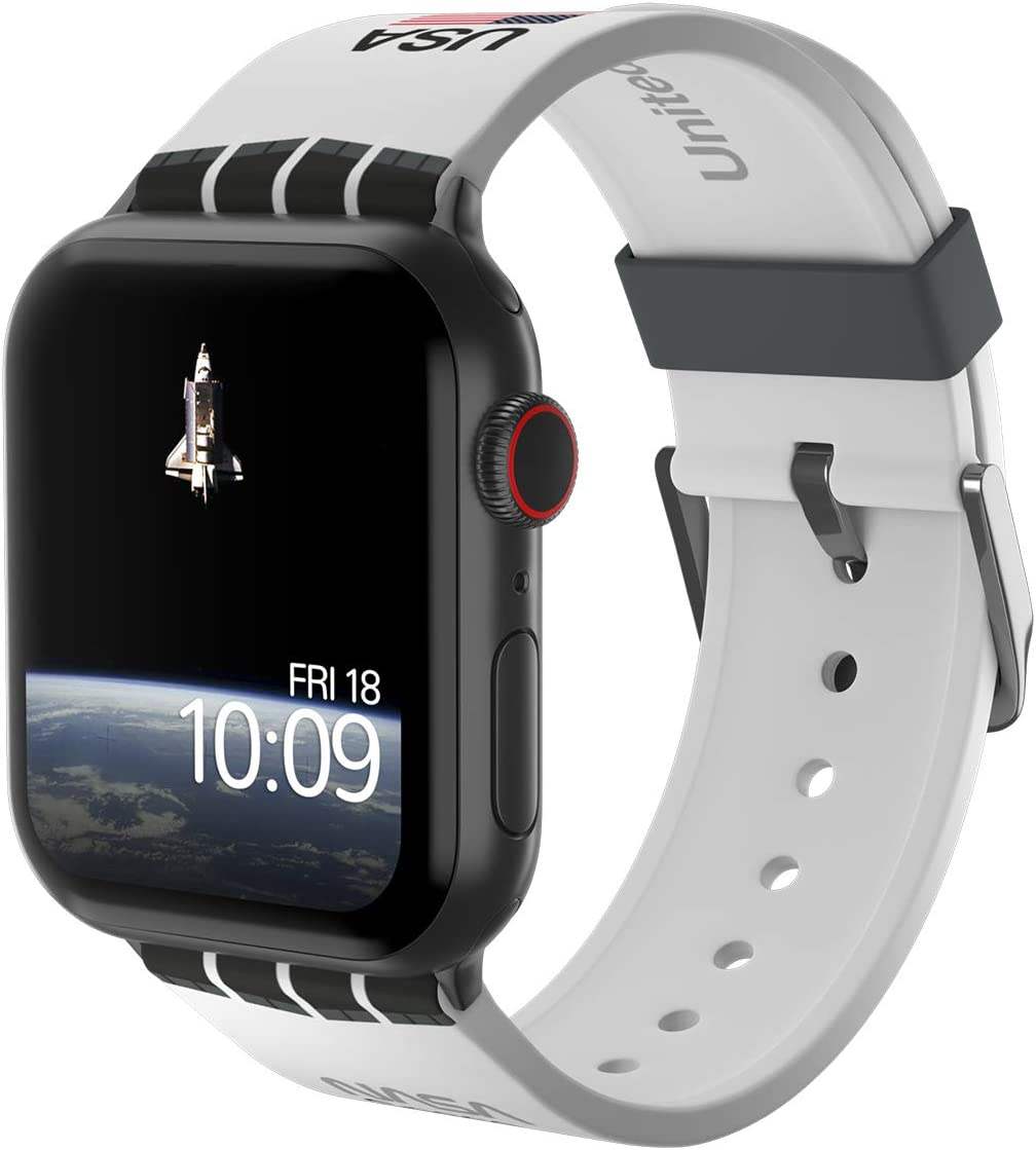 NASA - Space Shuttle Edition – Officially Licensed Silicone Smartwatch Band Compatible with Apple Watch, Fits 38mm, 40mm, 42mm and 44mm