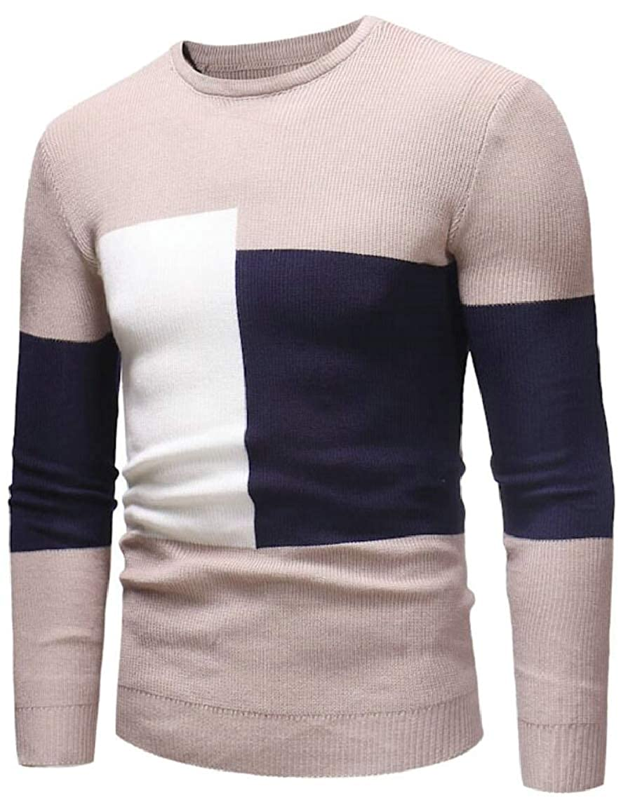 Yayu Mens Color Stitching Knitting Stretchy Leisure Knitwear Slim Pullover Sweaters