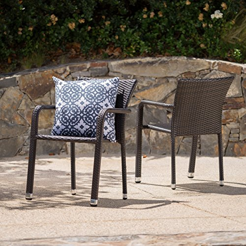 GDF Studio Dylan Outdoor Wicker Armed Aluminum Framed Stack Chairs (Set of 2) (Multi-Brown) For Sale