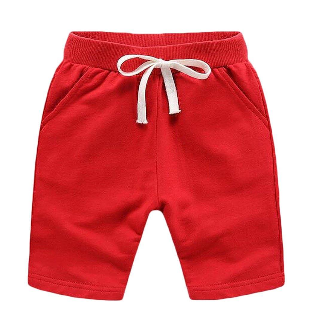 Lutratocro Boys Basic Elastic Waist Pure Color Comfy Sport Drawstring Beach Shorts