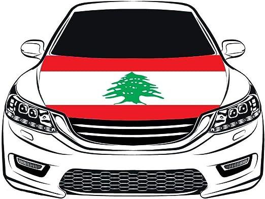 Flag King Funda para capó de Coche con Bandera de la República del Líbano de 100% poliéster, Bandera del Motor, Tejido elástico Que se Puede Lavar, capó para Coche: Amazon.es: Jardín