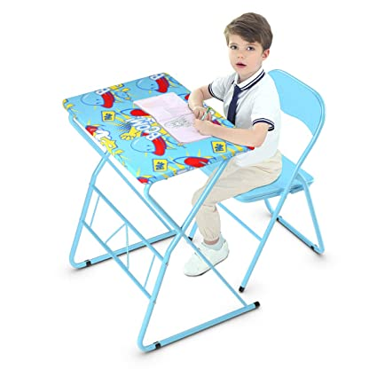 Awesome Costzon Kids Table And Chair Set Study Desk And Folding Chair For Boys Girls Activity Table Set With Steel Frame Non Slip Mats And Bright Color Machost Co Dining Chair Design Ideas Machostcouk
