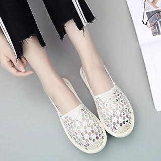 YOPAIYA Chaussures De Pêcheur Femmes Blanches en Dentelle Air Creux Chaussures De Maille Dames Légères Respirant Été Glisse Été Glissement sur des Mocassins Paresseux