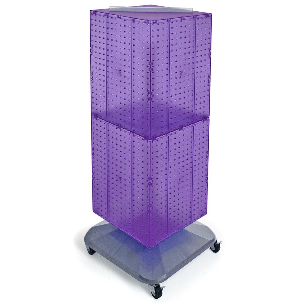 Azar Displays 701436-PUR Standard Four-Sided Interlocking Pegboard Floor Display, Purple Translucent
