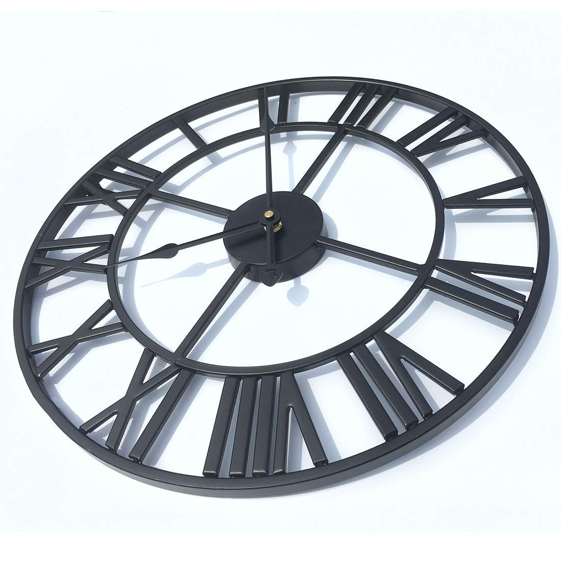 RuiyiF Vintage Wall Clock Non Ticking 16 Inch Silent Industrial Wall Clock Oversized Iron Clocks Large Decorative for Kitchen Living Room Bathroom Black
