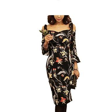 SmarketL Popular women vestido feminino summer casual High Waist printing dresses for women picture color XL