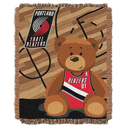 (The Northwest Company Officially Licensed NBA Portland Trail Blazers Half Court Woven Jacquard Baby Throw Blanket, 36