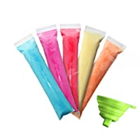 FroZip 125 Disposable Ice Popsicle Mold Bags 8x2'' | BPA Free Freezer Tubes With Zip Seals | For Healthy Snacks, Yogurt Sticks, Juice & Fruit Smoothies, Ice Candy Popsicle Pops| Comes With A Funnel