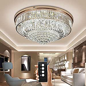 WEERUN LED Three Brightness K9 Crystal S Gold Mirror Stainless Steel Ceiling Lights Fixture Lamps Chandeliers Pendant Lights Lighting With LED Bulbs and Remote Control For Restaurant Living Room