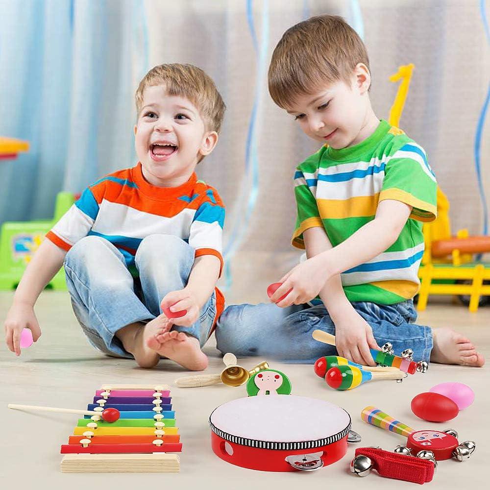 24 St/ück Schlagwerk Spielzeug Kinder Schlaginstrument Musikalisches Vorschulunterricht P/ädagogisches Xylophone Osterei f/ür Kinder LinStyle Musikinstrumente Holz Percussion Set