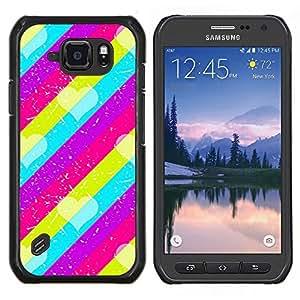 Caucho caso de Shell duro de la cubierta de accesorios de protección BY RAYDREAMMM - Samsung Galaxy S6Active Active G890A - Modelo rosado del trullo púrpura Líneas