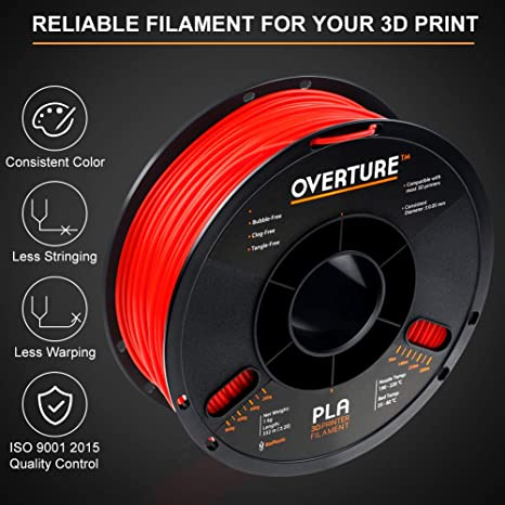 Overture PLA Plus 2.2lbs PLA+ Black, 2-Pack Dimensional Accuracy +//- 0.05 mm Premium PLA 1kg Spool Filament 1.75mm Toughness Enhanced PLA Roll with 3D Build Surface 200 /× 200mm