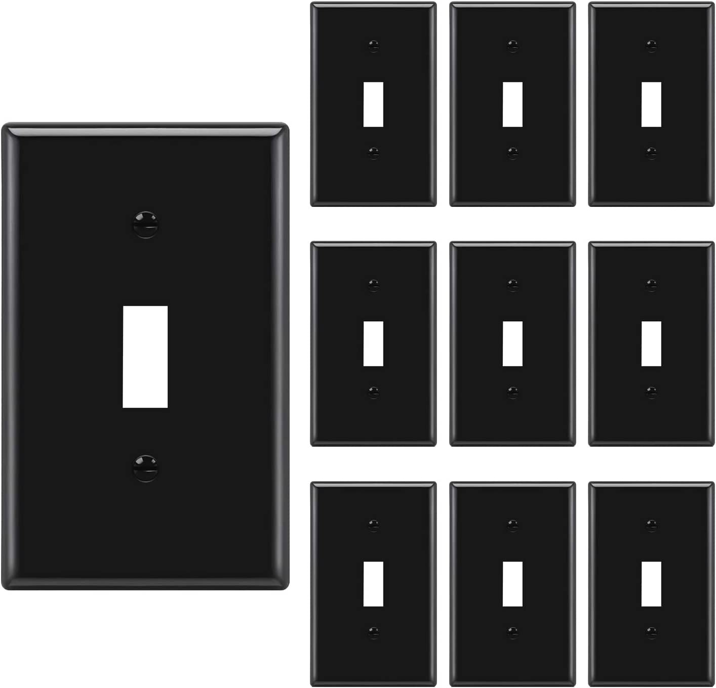 10 Pack Bestten 1 Gang Toggle Wall Plate Unbreakable Polycarbonate Light Switch Cover Standard Size Ul Listed Black