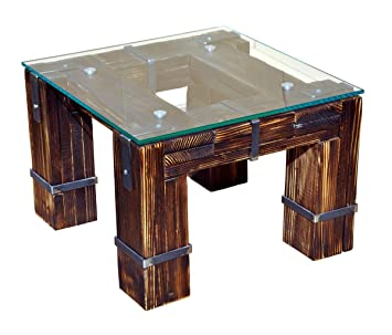 CHYRKA® Wohnzimmertisch Couchtisch Massivholz Metall Glastisch Holz Glas  LEMBERG DROHOBYCZ Loft Handmade (Drohobycz, 60x60 cm H=50 cm)
