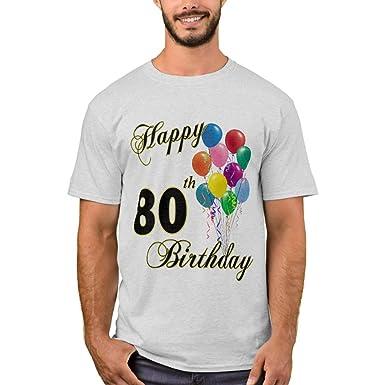 Zazzle Happy 80th Birthday T Shirt Ash Adult S Mens Basic