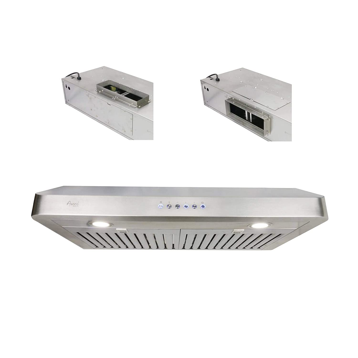 "Awoco RH-R06 Rectangle Vent 6"" High Stainless Steel Under Cabinet 4 Speeds 900CFM Range Hood with LED Lights (30""W Rectangle Vent)"