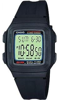 Casio Collection F-201W-1AEF, Reloj Rectangular, Correa de Resina, Unisex