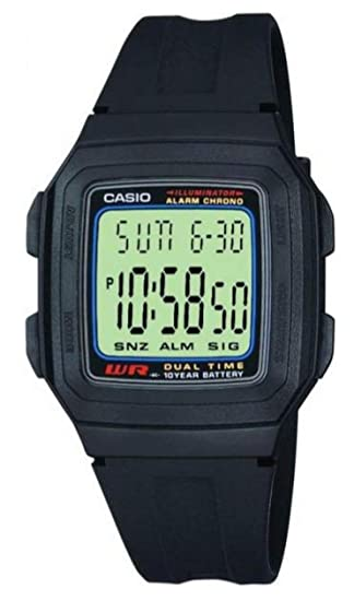 Casio Collection F-201W-1AEF, Reloj Rectangular, Correa de Resina, Unisex, Negro: Amazon.es: Relojes