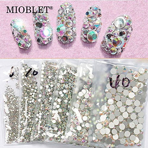 Top Quality SS8 AB 1440pcs Crystal AB Color Super Shiny Nail Art Rhinestones Flat Back Non Hotfix Strass Stone 3D Nail Decorations Gems Accessories Manicure