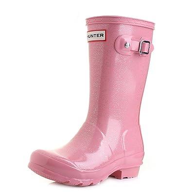 b5a9b6ca9d7 GIrls Kids Hunter Original Glitter Wellington Boots Bright Pink ...