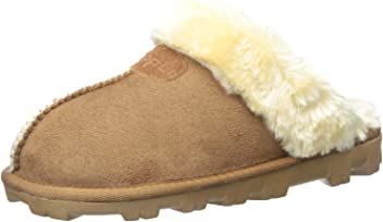 ec5b28d2c91c CLPP LI Womens Slip On Faux Fur Warm Winter Mules Fluffy Suede Comfy  Slippers