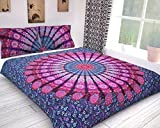 Handicraftofpinkcity Indian Peacock Mandala Duvet Cover Throw Reversible Cotton Doona Quilt Cover (Single Size)
