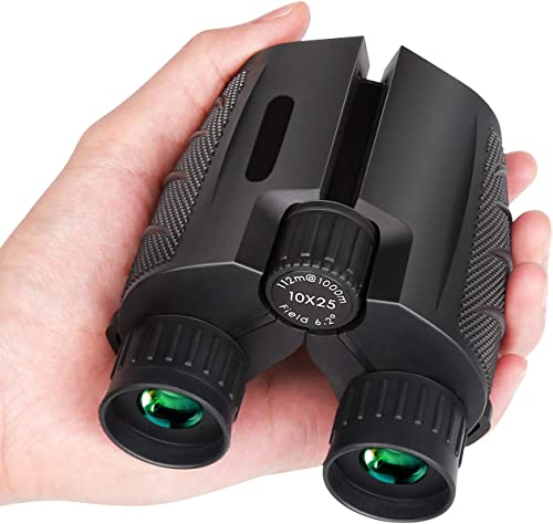 Mieuxbuck 10×25 Compact Binoculars for Adults, Small Binoculars for Bird Watching, Concerts, Hunting, BAK-4 FMC Lens with Low Light Night Vision 0.5lb