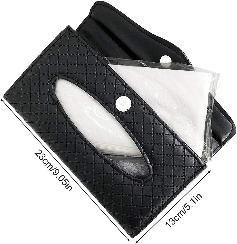 FineGood per Sedile Posteriore e Parasole Porta fazzoletti e Occhiali in Pelle PU con Porta Occhiali da Sole Colore: Nero