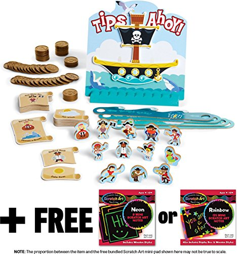 Tips Ahoy: Pirate Ship Balance Family Game + FREE Melissa & Doug Scratch Art Mini-Pad Bundle [4535] by Melissa & Doug