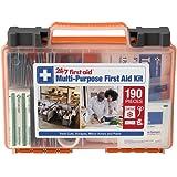 24/7 First Aid 190 Piece First Aid Kit, Orange
