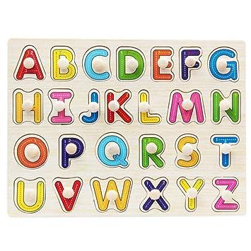 b24f47960e23 BOBORA Puzzles Infantiles de Madera Juegos Juguetes Educativos de Aprendizaje  Juguete Rompecabezas de Madera para Niños Pequeños de 1 Año (Letra  Mayúscula): ...