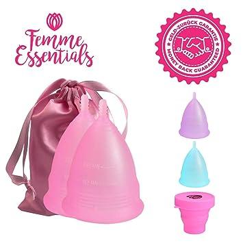 2x Copa Menstrual Femme Essentials|100% de Silicona Hipoalergénica para Uso Médico| Ecológica