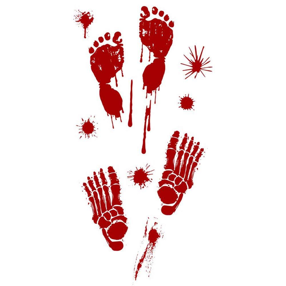 ❤️ Yu2d ❤️ Bloody Footprints Floor Clings Halloween Vampire Zombie Party Decor Stickers B