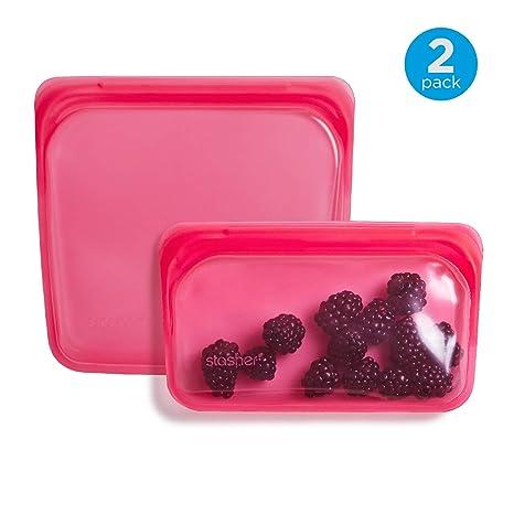 Stasher Reusable Silicone Food Bag, Sandwich Bag and Snack Bag, Storage Bag, Raspberry Pink