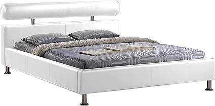 Cama Design en PU con somier, 160 x 200 cm, Color Blanco ...