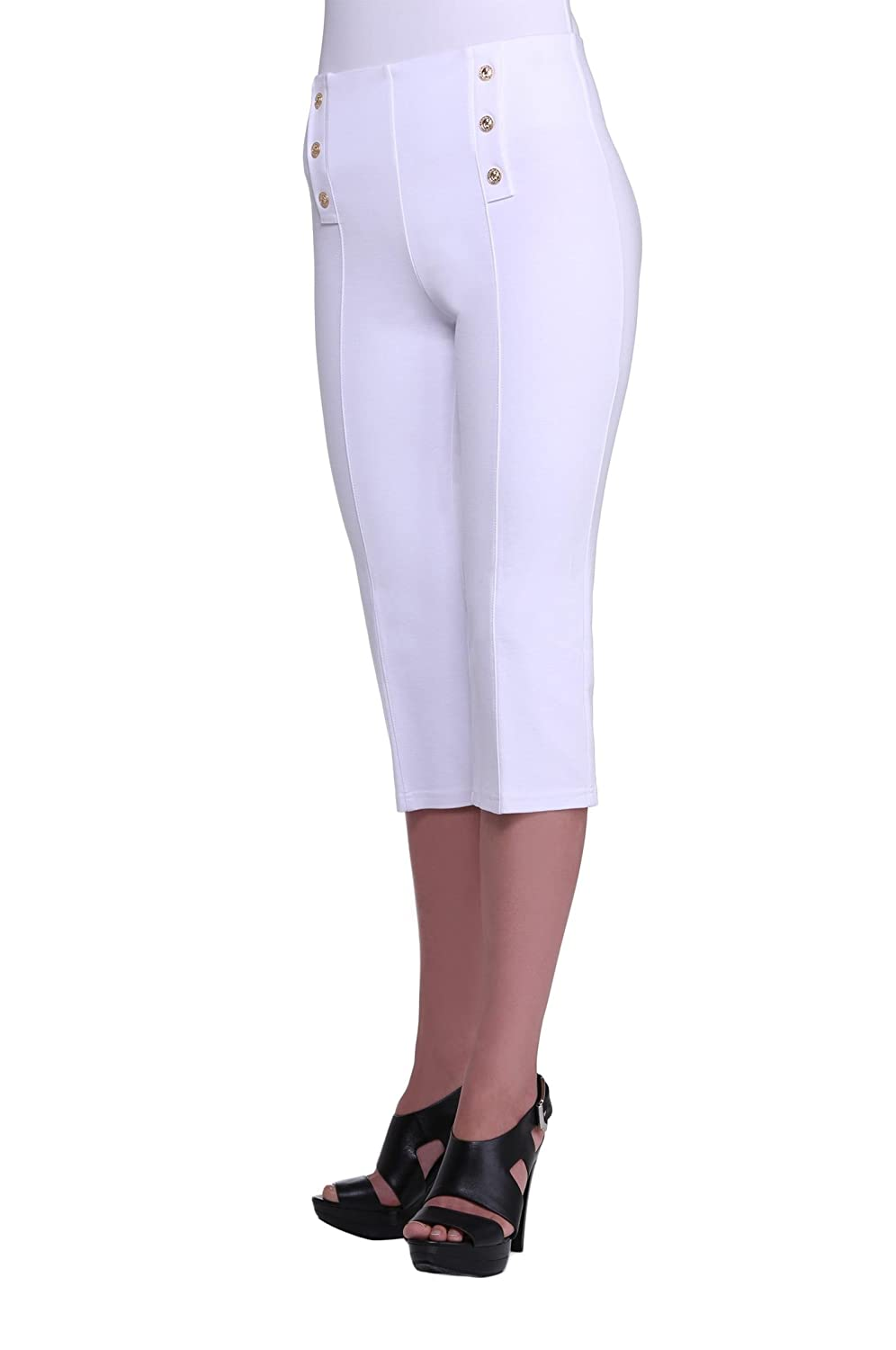 Petite Women's Nautical Slimming Contour White Capri Pants