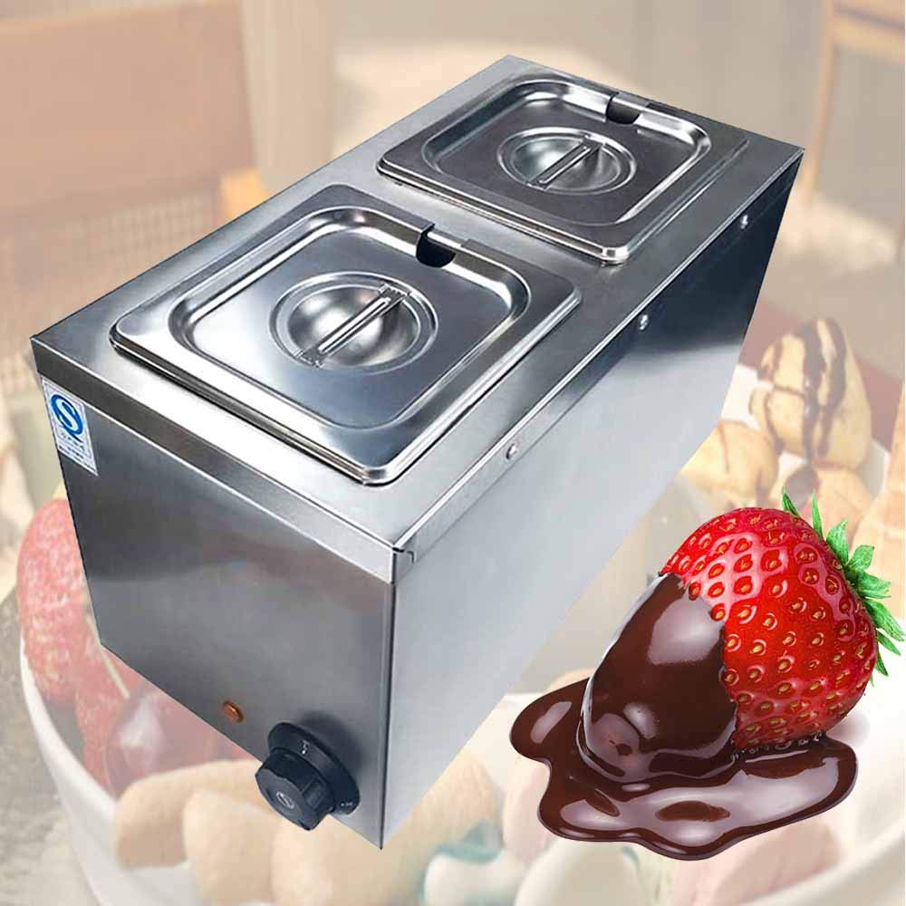 Li Bai Commercial Chocolate Melting Machine Electric Fountain Pot Liquid Warmer 300W 4L Capacity 2 Tanks for Chocolate Candy Butter Cheese Caramel Soup and More by Li Bai (Image #2)