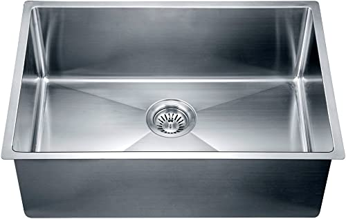 Dawn SRU251610 Undermount Small Corner Radius Single Bowl Sink, Polished Satin
