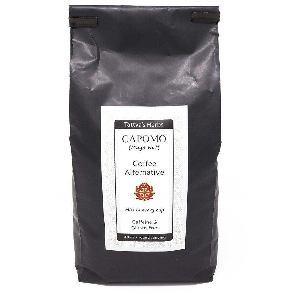 Capomo Coffee Alternative and Substitute - Caffeine Free, Gluten Free, Dark Roast - Maya Nut , - Eco Friendly Herbal Coffee - 48 oz. From Tattva's Herbs