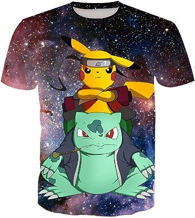 Hojoo Camiseta Unisex Camiseta Estampada 3D T-Shirt Hombres Mujeres Sudadera Pokemon (XXS-XXXL): Amazon.es: Ropa y accesorios