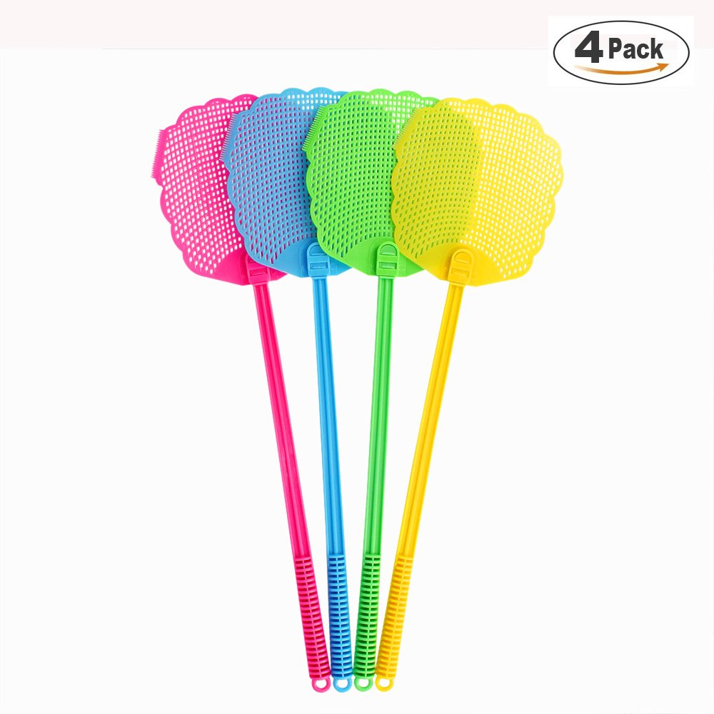 Fly Swatter 20.5 inch Sturdy and Long Handle Durable Plastic Pest Control,Yellow Green Blue Rose 4 Pack … (4)