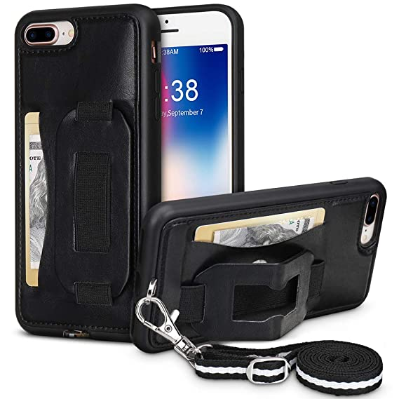 free shipping 62e6a 5360d iPhone Wallet Case for iPhone 7 Plus/8 Plus TOOVREN Necklace Lanyard Case  Cover with Kickstand Card Holder Adjustable Detachable Anti-Lost Neck Strap  ...